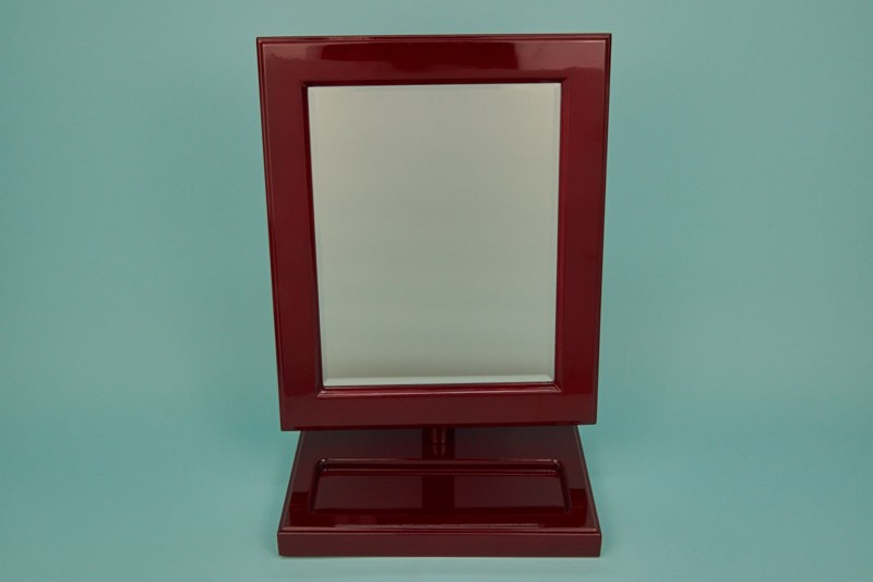 Mahogany Wood Mirror W/ Extra Compartment #8097